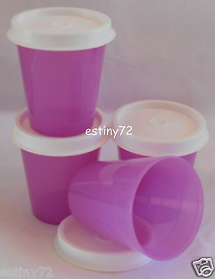 Tupperware Minis / Midgets Set (4) Radiant Orchid Purple & Snow White Seals New