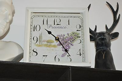 Shabby Chic Cream Square Vintage Style Lavender Provence Design Metal Wall Clock