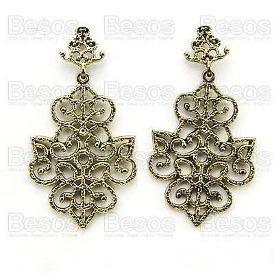TEXTURED ORNATE CUTOUT EARRINGS vintage gold fashion antique brass 6cm long