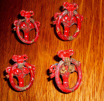 (( #  22 )) ((( 4 Flower Vase Single Screw 1930's Drawer Ring Pulls )))