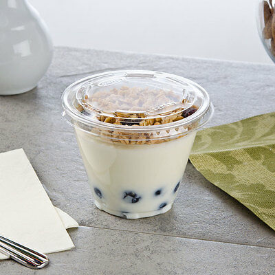Pack of 10 Clear Plastic Parfait Cup 9 oz with 2 oz Insert and Flat Lid