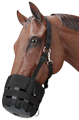 Tough 1 Poly Nylon Grazing Muzzle with Halter, Black