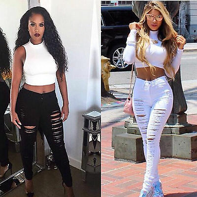 Women's Sexy  High Waist Skinny Ripped Holes Jeans Pencil Trousers Denim Pants