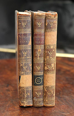 C18th Book The Works of James Thompson, 1750,Vols I-III, Leather, 1st Edition
