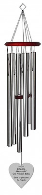 Chimesofyourlife ch-heart-35-silver Child Heart Memorial Wind Chime, 35-Inch, Si
