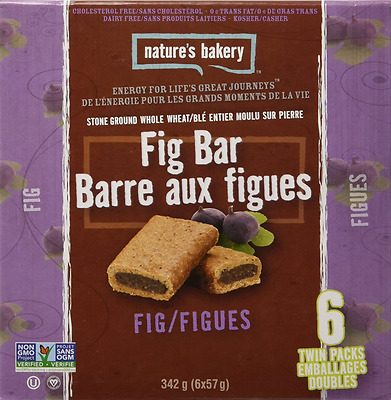 Nature's Bakery Fig Bars (Pack of 6), Fig Whole Wheat, 340.2g