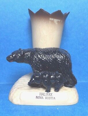 Vintage Plastic Black  Bear on Top of Base with A Small From Halifax Nova Scotia