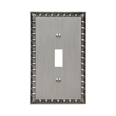 Amerelle Amertac 90TAN Egg and Dart Antique Nickel Cast Wall Plate, 1 Toggle