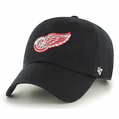 47 BRAND NEW Mens NHL Detroit Red Wings Clean Up Cap - Black BNWT