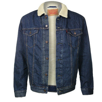 New Levi's Men's Sherpa Jean Trucker Jacket Fur
