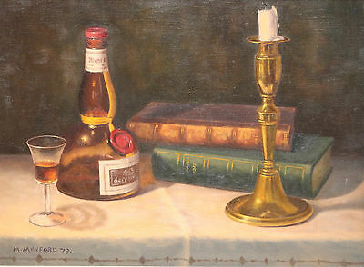 Vintage Gothic Still Life Oil Painting on Canvas, Snuffed Candle, Books & Brandy