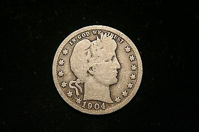 1904 O Barber Silver Quarter, US Coin ,  GOOD , Free Shipping!
