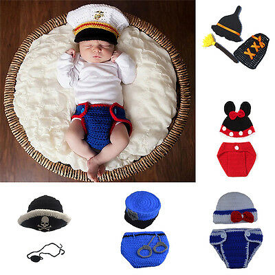 a5f6aa5c25c Newborn Baby Girls Boys Crochet Knit Hat Costume Photo Photography Prop  Outfits