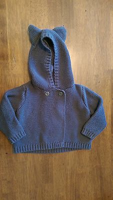 LIKENEW Baby GAP Gray Hooded Knit Sweater Baby Size 6-12M