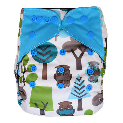 NEW Baby Cloth Pocket Diaper Shell with Snaps, One Size 10-35 Lb, Owls