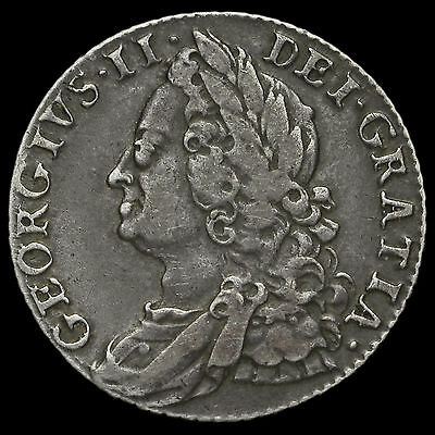 1750 George II Early Milled Silver Shilling, Wide 0, Scarce, VF