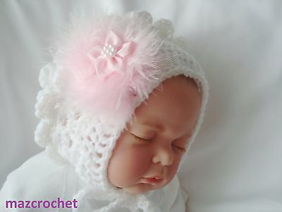 baby girl hat bonnet  crochet pink  swans down 1 baby pink flower    FREE POST
