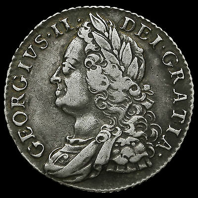 1758 George II Early Milled Silver Shilling, VF