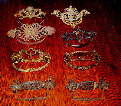 (( #  53 )) ((  6 Mixed & 1 Pair Eastlake 1800's Brass Drawer Pulls ))
