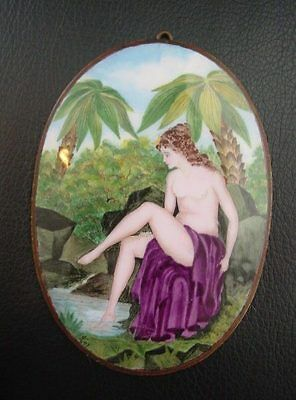 ESTATE: Oval ENAMELED bronze signed DISC of a NUDE WOMAN Aesthetic Movement f.s.