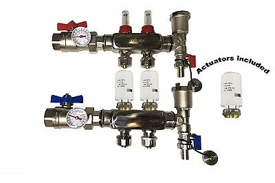 2 - Loop/Port Stainless Steel PEX Manifold Radiant Heating with 4 wires actuator