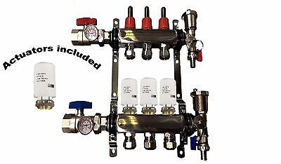 3 - Loop/Port Stainless Steel PEX Manifold Radiant Heating with 4 wires actuator