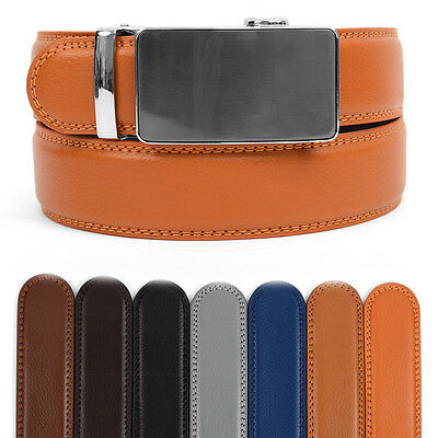 Men's Leather Ratchet Belt with Gunmetal Simplicity Automatic Buckle (MGLBB34)