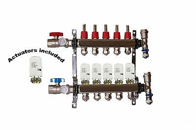 5 - Loop/Port Stainless Steel PEX Manifold Radiant Heating with 4 wires actuator