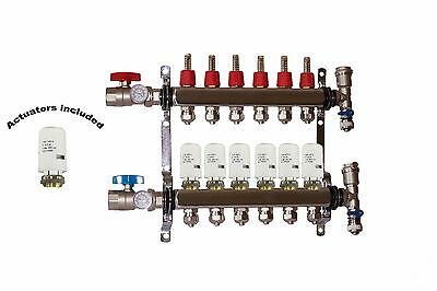 6 - Loop/Port Stainless Steel PEX Manifold Radiant Heating with 4 wires actuator