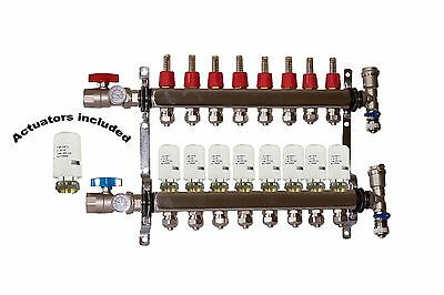 8 - Loop/Port Stainless Steel PEX Manifold Radiant Heating with 4 wires actuator