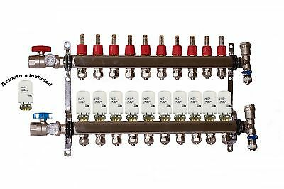 10- Loop/Port Stainless Steel PEX Manifold Radiant Heating with 4 wires actuator
