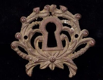 Antique Brass Escutcheon Keyhole Cover Victorian