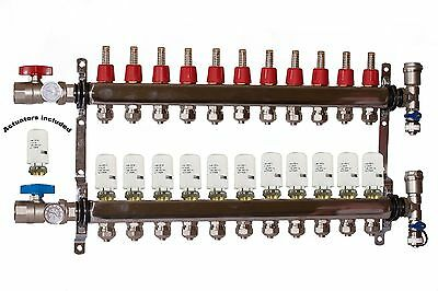 11- Loop/Port Stainless Steel PEX Manifold Radiant Heating with 4 wires actuator