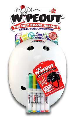 Triple Eight 604352040129 Wipeout Dry Erase Helmet, White, Medium/5+ Years