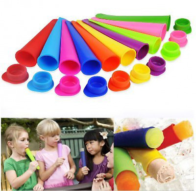 BPA Free 10-Piece Silicone Ice Pop Maker Set (Random Color) By Palker Sky