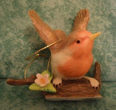 """red Breasted Robin""? On ""wood"" Perch~Porcelain Bird Ornament~3""~Beautiful"