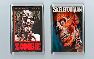 Magnets x 2: ZOMBIE SKELETONMAN Horror Films