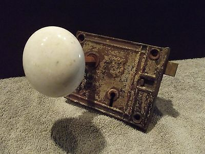 Antique Vintage Lock Set with White Porcelain Door Knobs (Norris)
