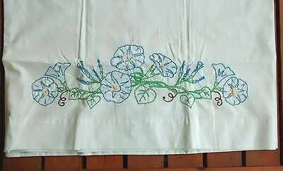 Vintage Morning Glory Hand Embroidered Floral Pillowcase
