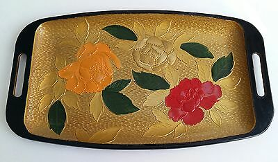 Vintage Peony Tray With Side Handles Plastic Style Textured Black Gold Red