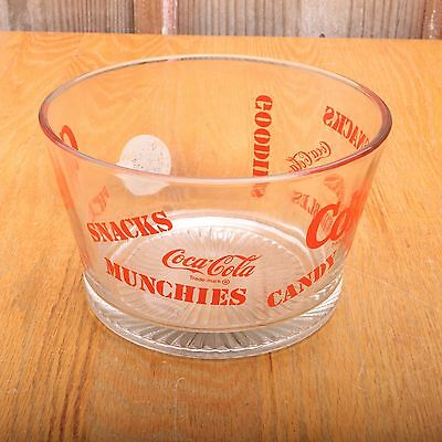 Coke Coca-Cola Glass Clear Red Snack Bowl Munchies Goodies Nibbles Candy