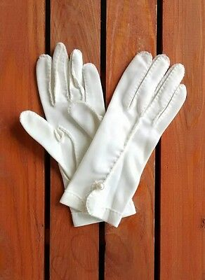 Vintage Ivory Nylon Faux Pearl Wrist Gloves Womens Size 7 Lady Gay Costume