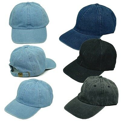 80caf54a190 New Vintage Dyed Washed 100% Cotton Plain Solid Polo Style Baseball Ball  Cap Hat
