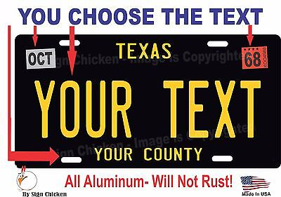 Texas License Plate Personalized Custom Auto Car Bike Bicycle Tag BLACK