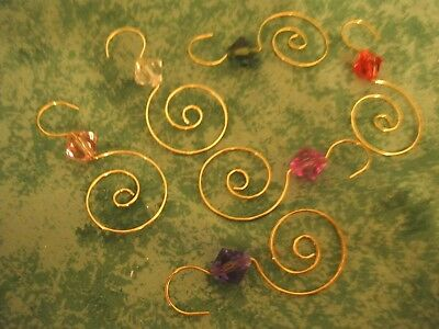 "Pretty! Decorative Tree Ornament Hooks~Gold~Multi Color Jewels~29 Pcs~2-1/4""~New"