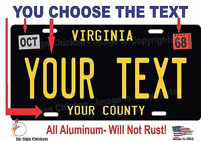 Virginia License Plate Personalized Custom Auto Bike Motorcycle Moped Tag BLACK