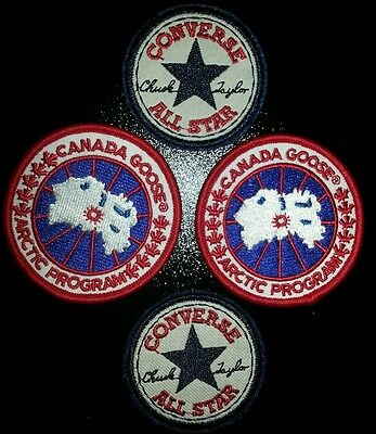 Joblot iron on patches 4pc converse all star and canada goose