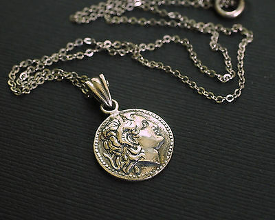 VINTAGE Sterling Silver Alexander the Great Roman Coin Necklace Pendant