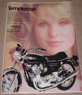 1971 NORTON COMMANDO 750 VINTAGE MOTORCYCLE AD POSTER 24x18 STYLE B 9MIL PAPER
