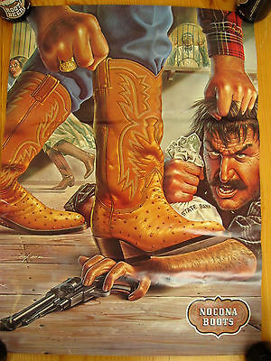 Vtg Store Display POSTER Nocona Boots Cowboy Rodeo Advertising RaRe Ebel SIGN #3